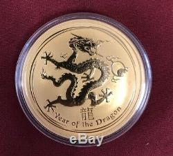 10oz Gold 2012 Australia Lunar II Dragon 9999 Fine Gold RARE 1 owner