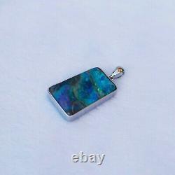 11.05cts 100% Australia Amazing Boulder Opal pendant 18k White gold 20.48ctKG111
