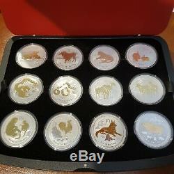 12 x Perth Mint Lunar Series 2 Full Set 1 oz Gilded Silver Coins Original case