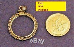 14K Gold Screw-Top Rope Polished Coin Bezel fits 1/4 oz Australian Lunar II