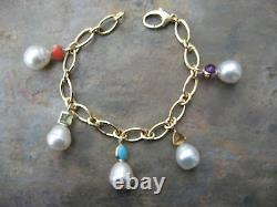 14 KT Yellow Gold Gemstones & Paspaley South Sea Pearl Charm Bracelet Dangle NEW