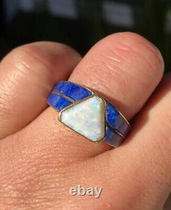 14k Yellow Gold Natural Australian Rainbow Opal & Lapis lazuli Inlay Men's Ring