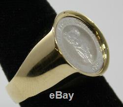 14k Yellow Gold Ring withAustralian Koala Platinum Coin, Ring Size 10.5