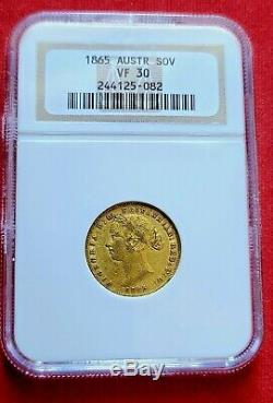 1865 AUSTRALIA SOVEREIGN Sydney Mint GOLD NGC Certified VF30