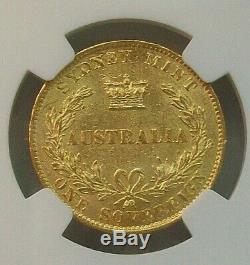 1867 Australia Queen Victoria Gold Sovereign Ngc Au-58