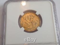 1872M Australia Gold Sovereign NGC AU 55 St George