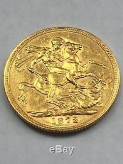 1872 -S- St George Young Victoria Gold Full Sovereign coin RARE Uncirculated