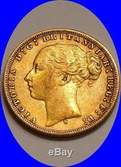 1875 S GOLD Sovereign of Australia NICE Tougher Date 1/4 oz Gold DRAGON SLAYER