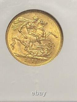 1877-M Australia Gold 1 SOV Sovereign St. George Young Head Horse MS 60