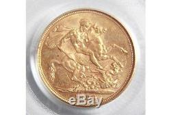 1879 Melbourne St George Gold Sovereign PCGS AU 55 Renniks CV=$1110
