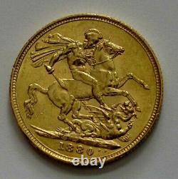 1880-M Australia Gold Sovereign Coin Queen Victoria Melbourne XF