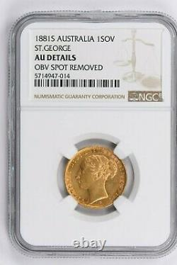 1881S Australia 1 Sovereign NGC AU DETAILS, ST. GEORGE Witter Coin