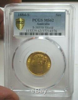 1884-S Australia Gold Soverign Coin PCGS MS62 No Reserve