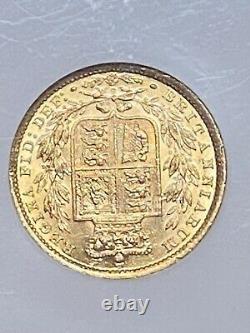 1887-S AUSTRALIA Victoria-Young Head & Shield Sovereign Gold Coin AU58