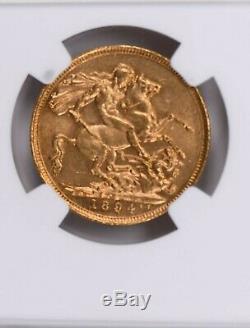 1894S Australia 1 Sovereign NGC MS 61 Witter Coin