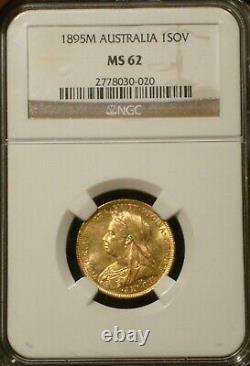 1895 M AUSTRALIA Queen Victoria Gold Sovereign NGC MS 62 Veiled Head