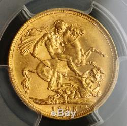 1895-M, Australia, Queen Victoria. Gold Sovereign Coin. Melbourne! PCGS MS-62