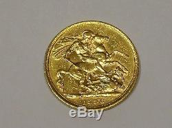 1896-m Gold Full Sovereign Coin Australia Melbourne Mint Very Nice B/o