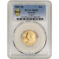 1897 M Australia Gold Sovereign PCGS MS62 S-3875