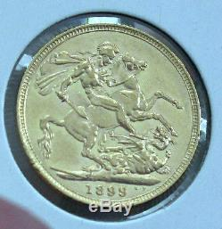1899-M Australia gold Sovereign Queen Victoria Melbourne mint