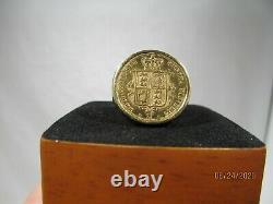 18 K Gold 1877 AUSTRALIAN Coin Ring 24 K Gold Coin Size 11.75