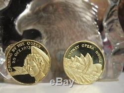 18ct Gold 2 Medal Set The Royal Visit 1973 Opera House Opening By The Queen
