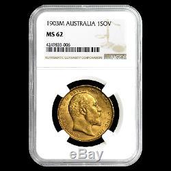 1903-M Australia Gold Sovereign Edward VII MS-62 NGC SKU#191476