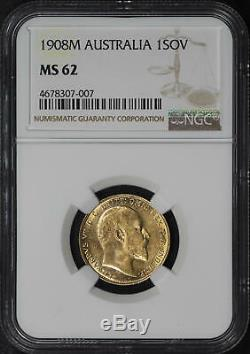 1908M Australia Gold Sovereign NGC MS-62