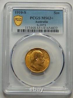 1910-S Gold Sovereign Australia Edward VII, MS-63+ PCGS, Touch Toning