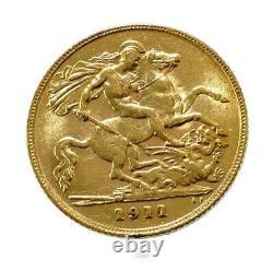 1911 Australia George V Annual Half Sovereign Gold Coin