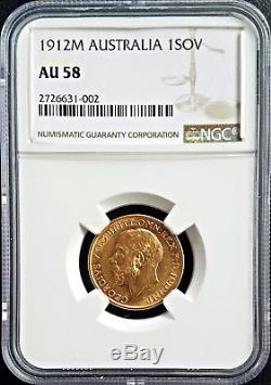 1912M Australia Gold Sovereign NGC AU 58 About Uncirculated Coin