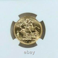 1912 Australia Gold 1 Sovereign George V Ngc Ms 62 Beautiful Luster Bright Coin