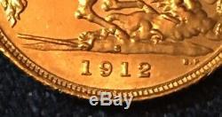 1912 S King George V 1/2 Gold Sovereign. Unc. Scarce 400 K Minted. Sydney