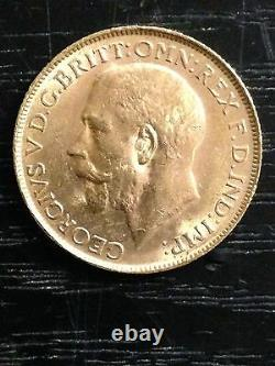 1913'P' Full Sovereign St George Reverse George V Gold coin Perth HIGH GRADE