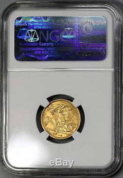 1914-S NGC MS 62 Australia Gold 1/2 Sovereign Britain Empire Coin (18051601C)