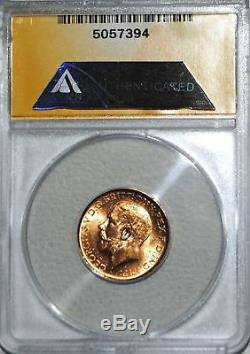 1915-S Gold Australia Sovereign ANACS MS-64 Sov Coin Sydney Australian BU SOV