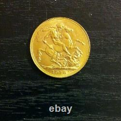 1918'P' Full Sovereign St George Reverse George V Gold coin