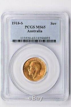 1918-S Australia 1 Sovereign PCGS MS 65 Witter Coin