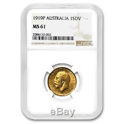 1919-P Australia Gold Sovereign George V MS-61 NGC SKU#171139