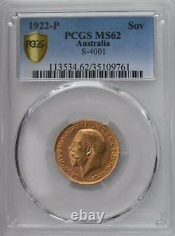 1922-P Gold Sovereign PCGS MS62 Australia S-4001 Sov Coin