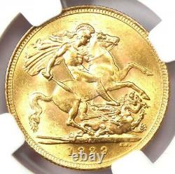 1929-SA South Africa George V Gold Sovereign Coin 1S Certified NGC MS63 (BU UNC)