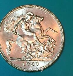 1930 M UNC King George Australia Gold Sovereign. Only 77,000 Minted. Super Rare