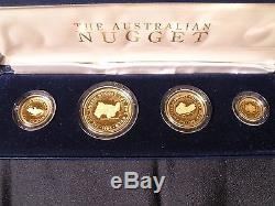 1986 Australian Gold Nugget 4-coin Set First Pf Issue 999.9 Parts Gold In 1,000