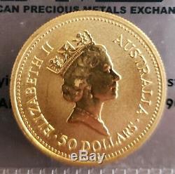 1987 $50 Australian Gold Half Ounce 1/2 Oz Hand of Faith Coin