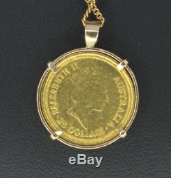 1987 Australian Nugget 1/4 OZ Golden Eagle Fine Gold $25 Coin Pendant #853054