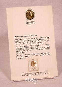1987 Gold 1/10 oz GoldCorp Australia Australian Gold Nugget Little Hero