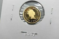1989 Australian Gold Proof Nugget-Kangaroo $5 Coin %. 99.99 Low Mintage