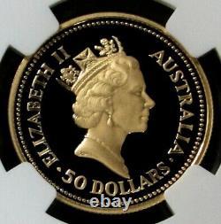 1989 P Gold Australia $50 Red Kangaroo 1/2 Oz Proof Coin Ngc Pf 69 Ultra Cameo