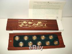 1990-1999 Australian Nugget Kangaroo 1/20 oz 999.9 Gold 10 Coins Set, BOX COA