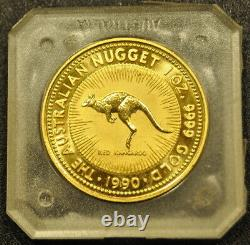 1990 1 OUNCE AUSTRALIAN NUGGET KANGAROO ELIZABETH II in THE ORIGINAL PACKAGING